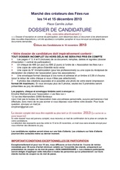 dossier candidature marche fe es rue 2013