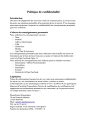 Fichier PDF politique de confidential