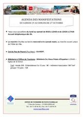 agenda semaine du 19 au 27 octobre