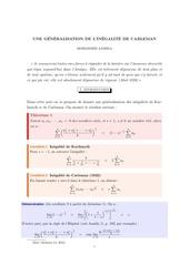 generalisation carleman 2