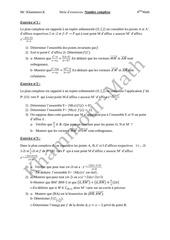 bac math serie d exercice nombre complexe