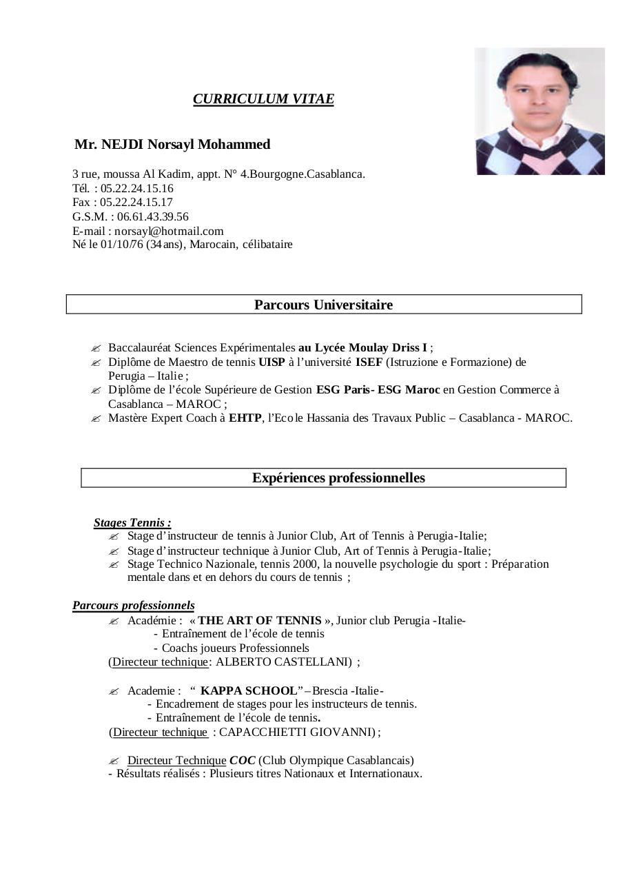 curriculum vitae pdf par nejdi