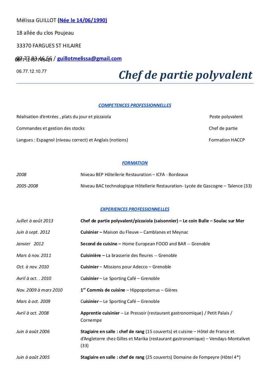 Cv 2013 par aline oudot fichier pdf - Poste de chef de cuisine ...