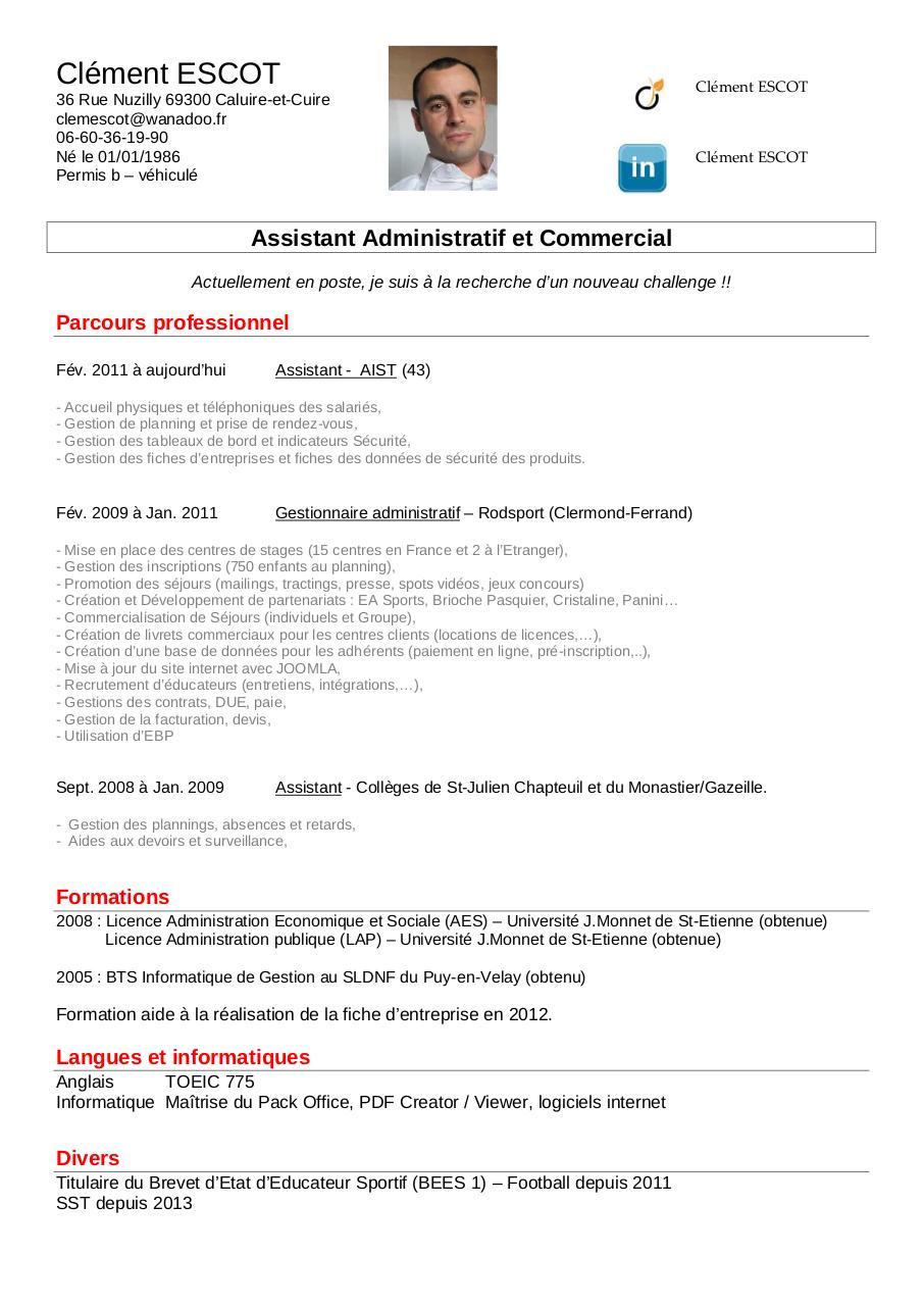 cv assistant administratif et commercial