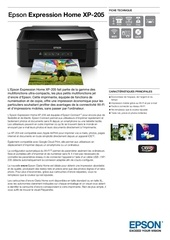 epson expression home xp 205 fiche