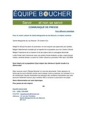 vente du centre culturel rEaction Equipe boucher