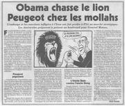 obama chasse le lion peugeot chez les mollahs iran le canard enchaine 2013 10 30