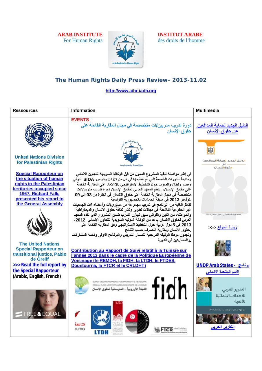 AIHR-IADH-Human rights Press Review- 2013.11.02.pdf - page 1/29