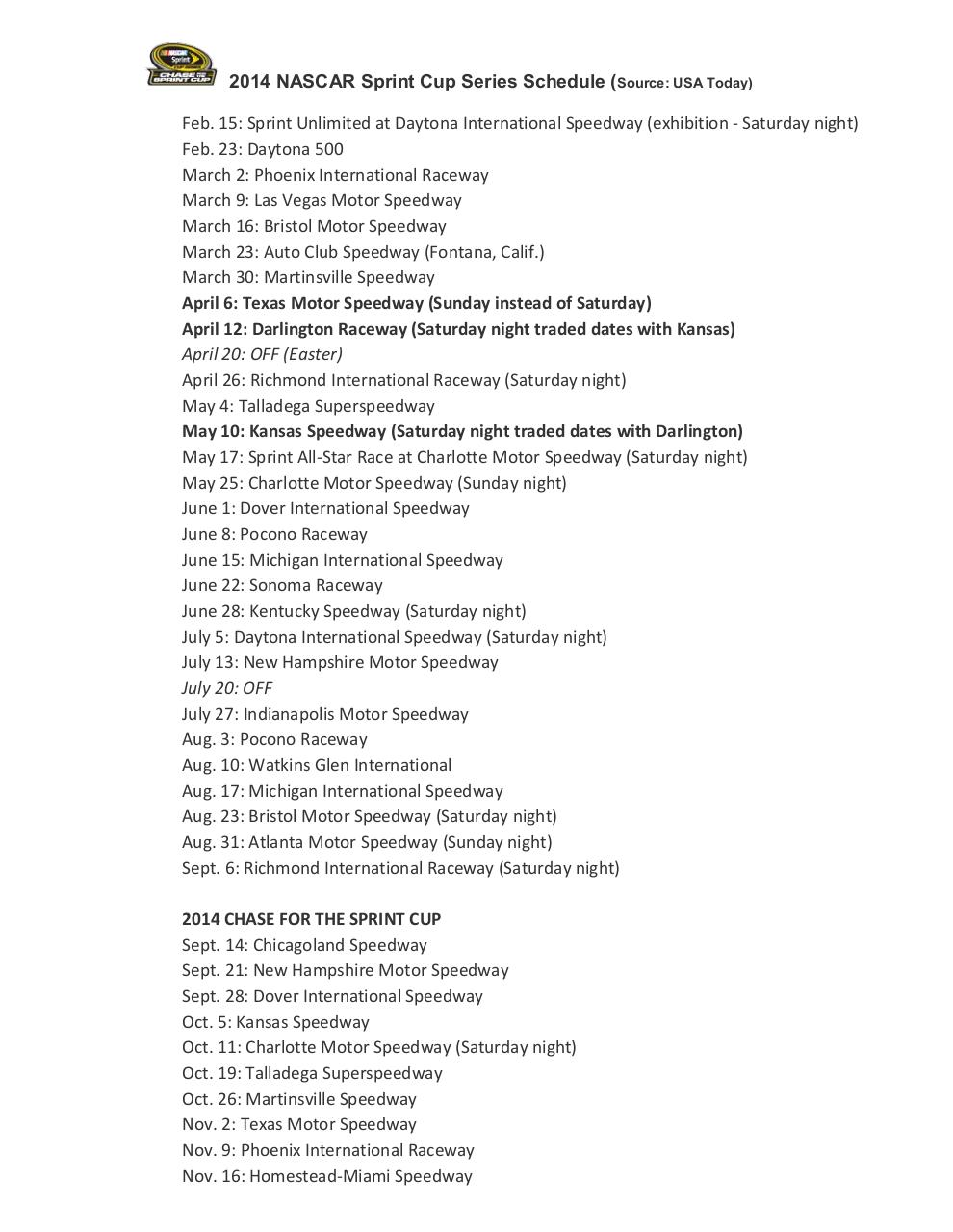 1024 · 105 kB · jpeg, 2014 NASCAR Sprint Cup Series Schedule.pdf