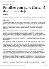 penaliser peut nuire a la sante des prostitue e s