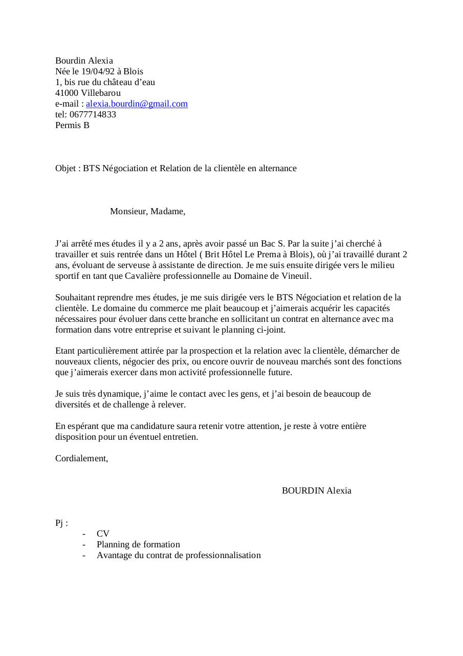 lettre de motivation relation client