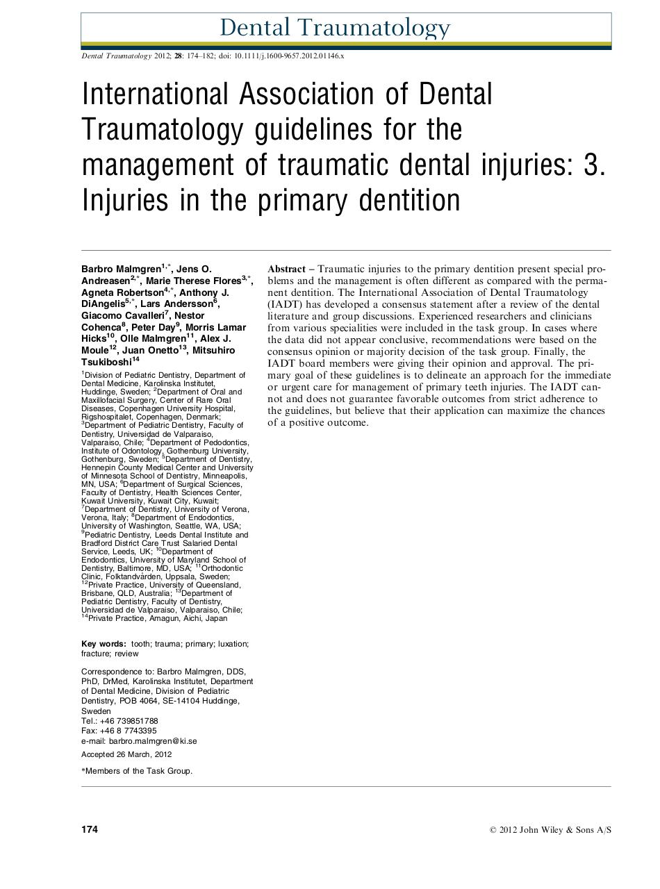 Aperçu du document IADT 2012 Injuries in the Primary Dentition Guidelines.pdf - page 1/9