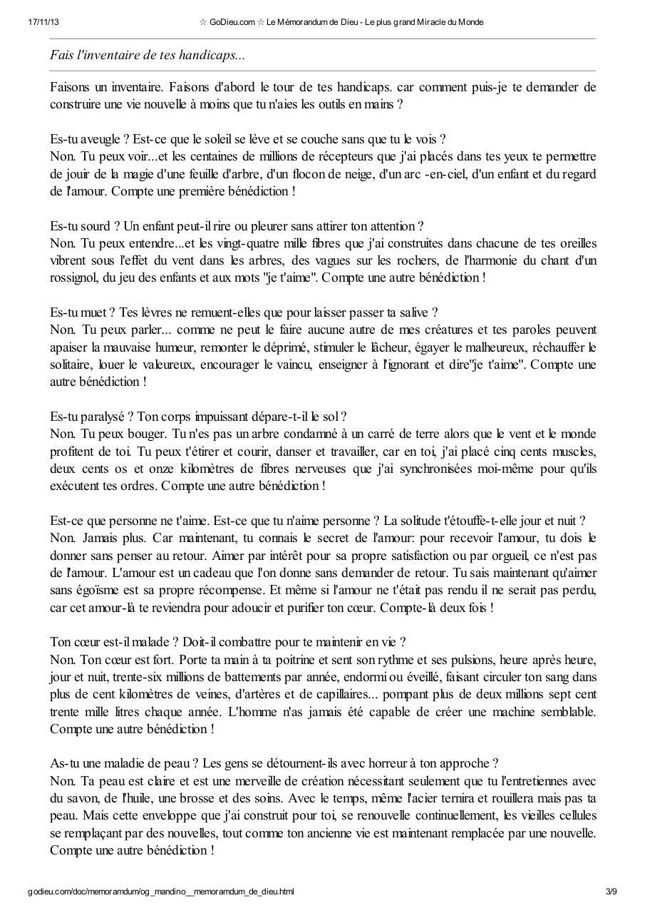 DE DIEU TÉLÉCHARGER LE MÉMORANDUM