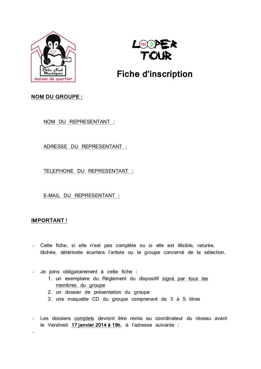 fiche d'inscription LOOPER TOUR 2014.pdf - page 1/7