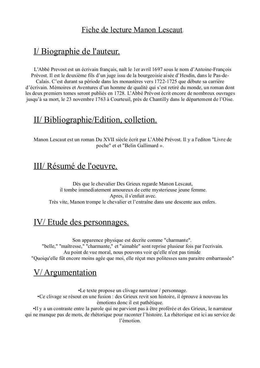 Commentaire sur L'abbé Prévost, Manon Lescaut, La scène de rencontre