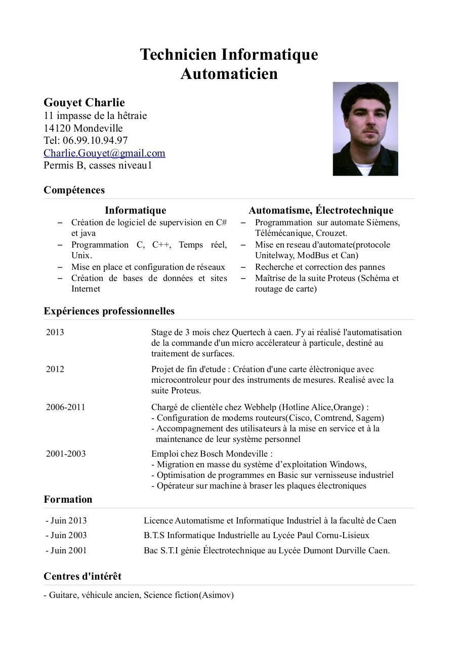 exemple de cv d un technicien en informatique