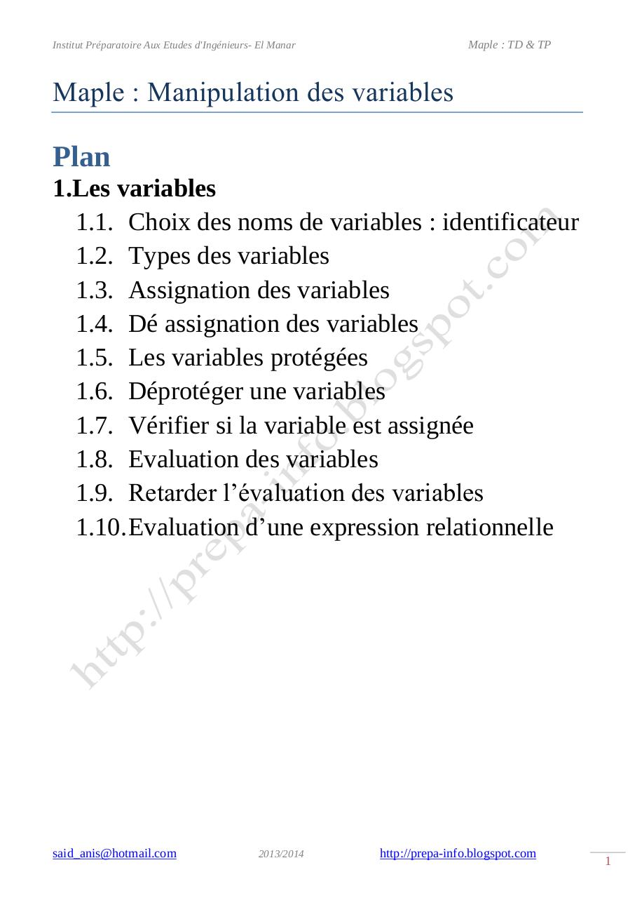 Maple Manipulation des variables.pdf - page 1/12
