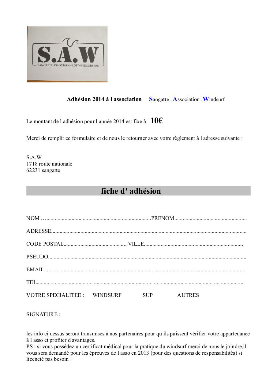 Aperçu du document fiche adhesion SAW.pdf - page 1/1