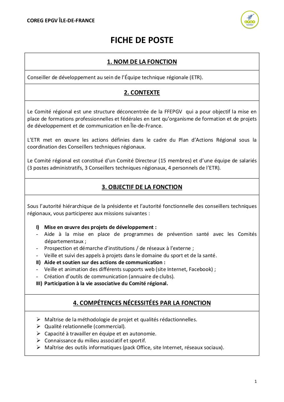 Modele Fiche De Poste Informatique Document Online