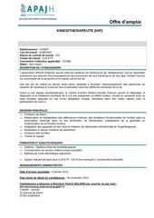 offre emploi kinesitherapeute 2013 camsp aubenas