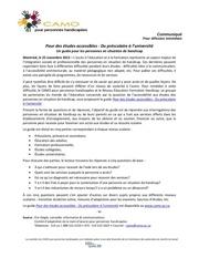 communiqueguide Etudes accessibles25112013