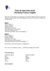 Fichier PDF fiche preinscription