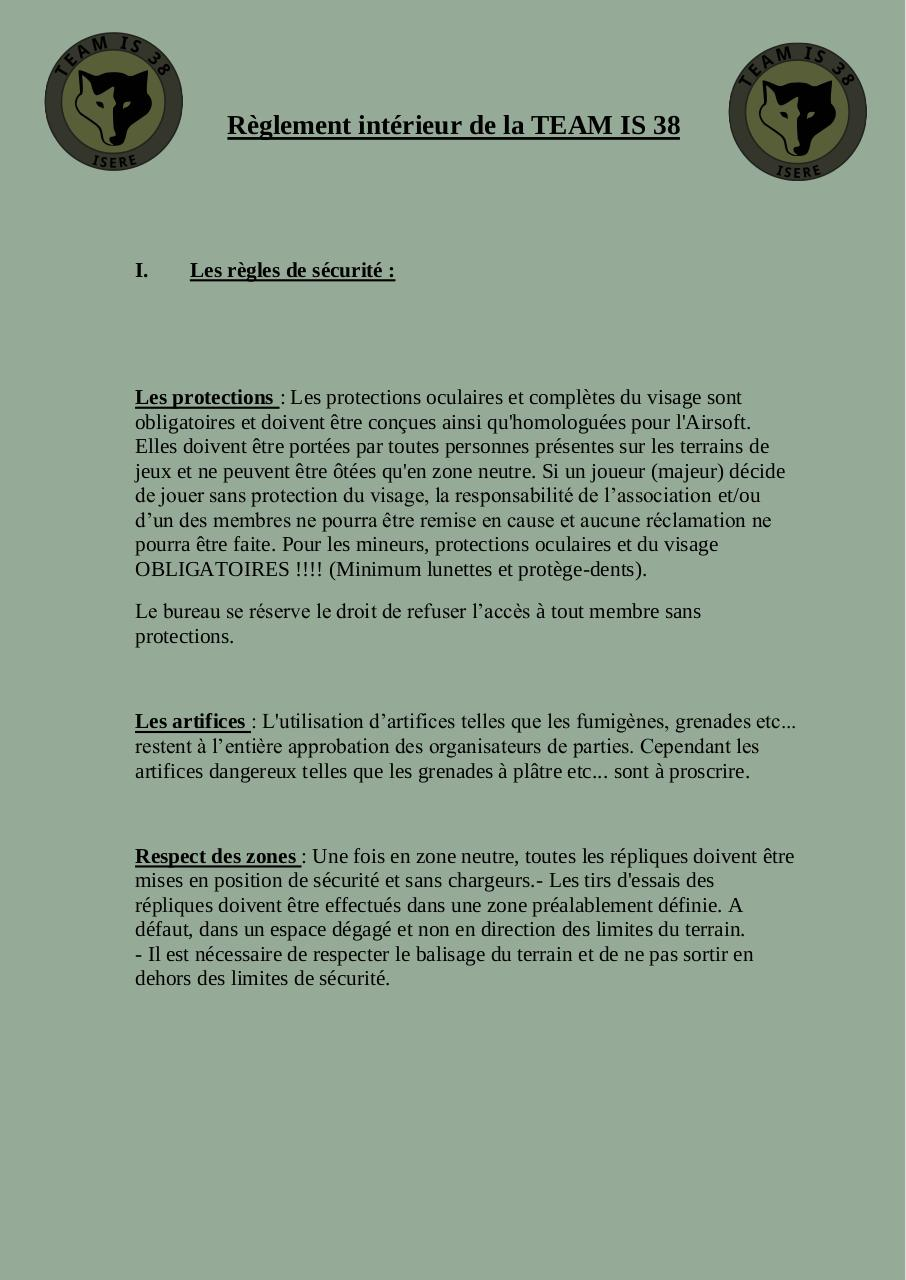 Reglement interieur de la TEAM IS 38.pdf - page 1/4