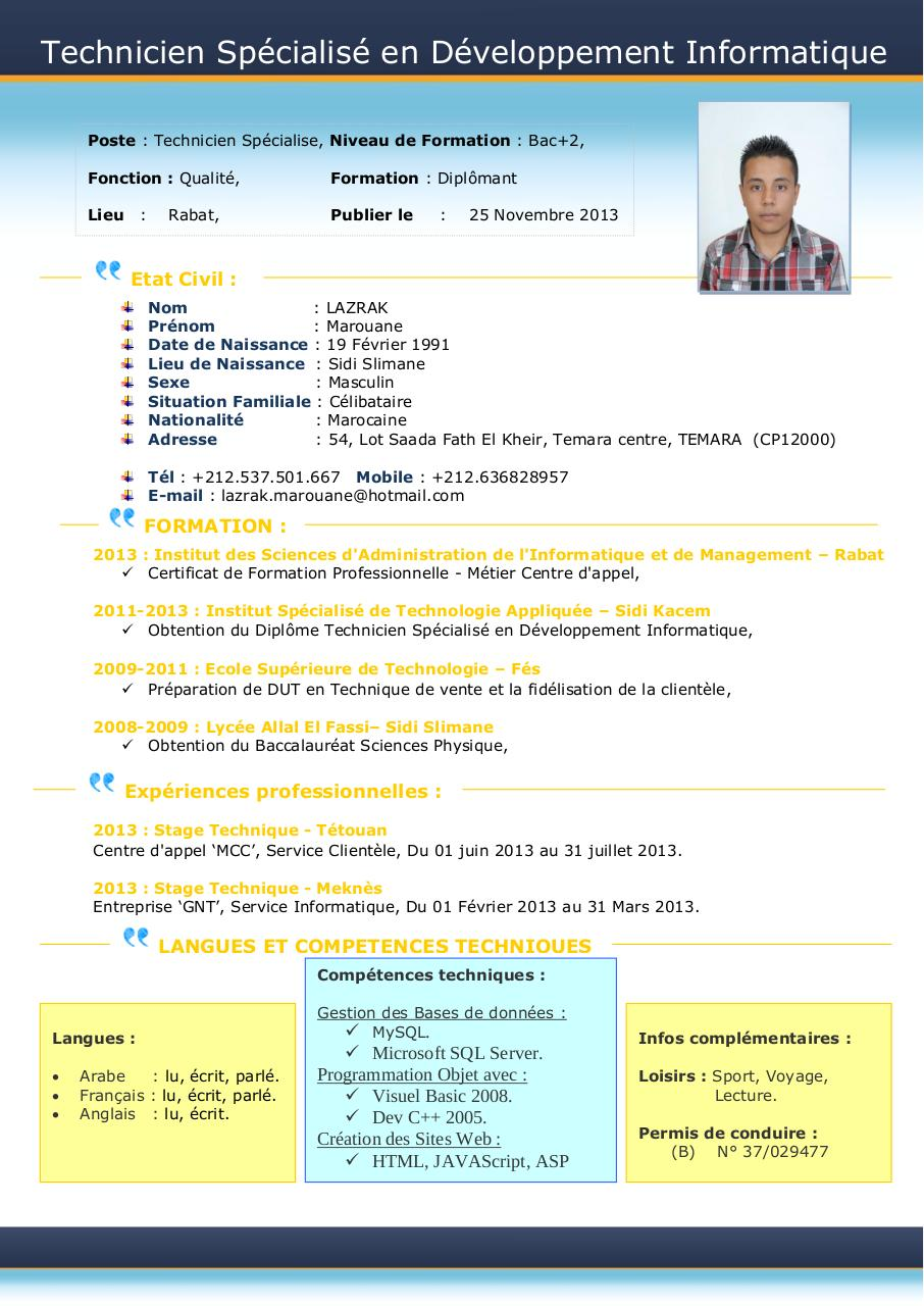 exemple cv technicien specialise en developpement informatique