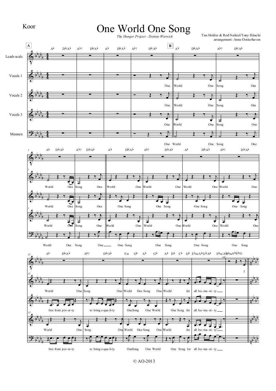 Aperçu du document One World One Song - Koor.pdf - page 1/4