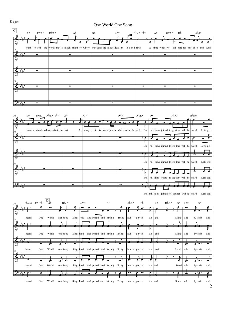 Aperçu du document One World One Song - Koor.pdf - page 2/4