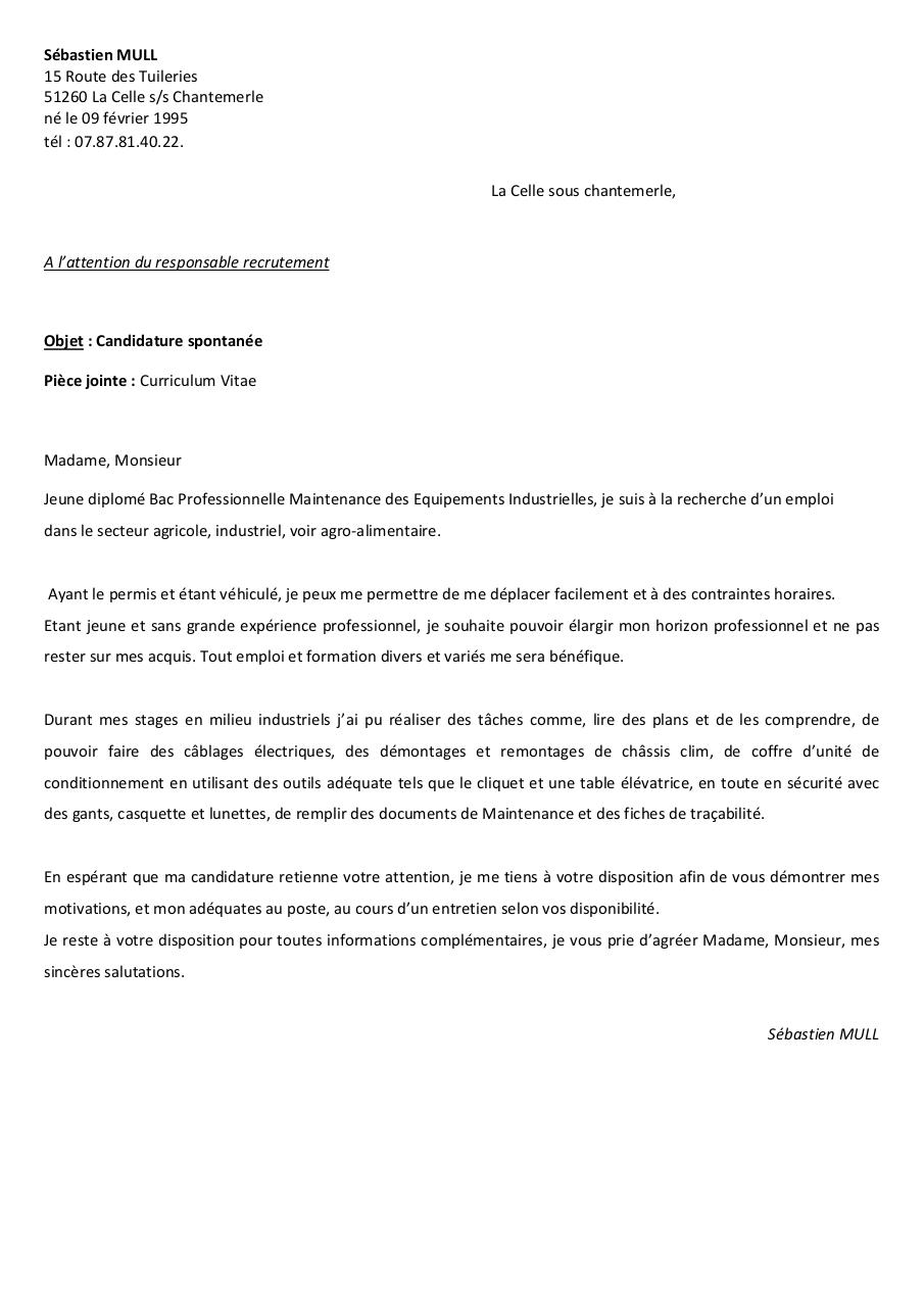 Doc Lettre De Motivation Stage Maintenance Industrielle Bac Pro