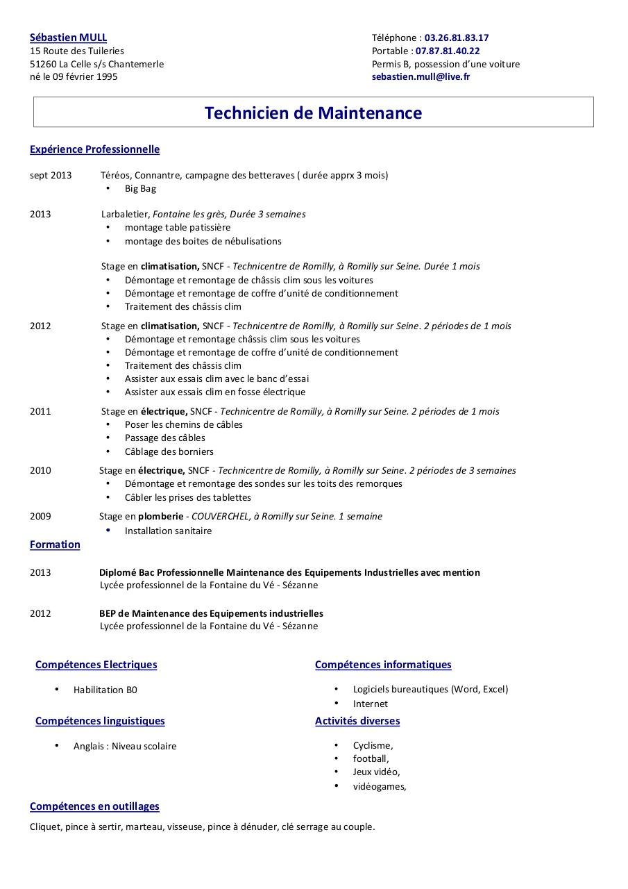 resume format  cv lettre de motivation bac pro