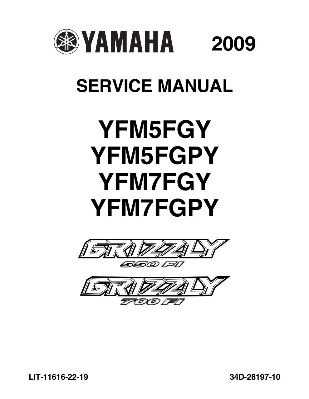 Aperçu du document Yamaha Grizzly 550 & 700 Service Manual.pdf - page 1/447