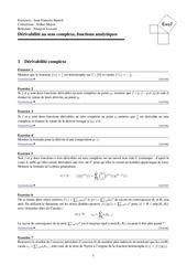 derivabilite au sens complexe fonctions analytiques