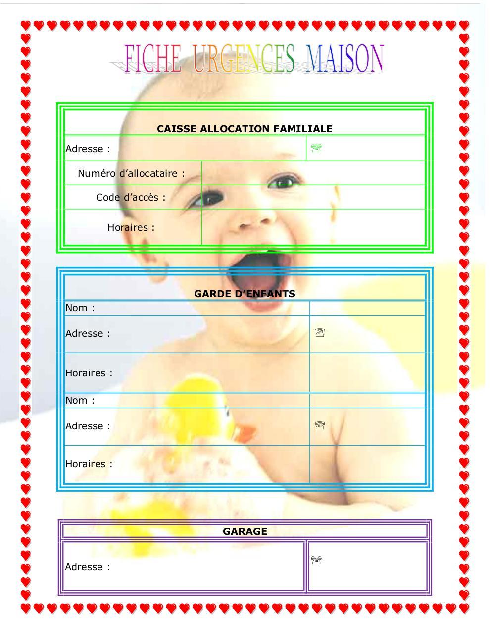 Fiche urgence maison par clara fichier pdf for Ikea heures de garde d enfants