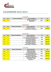 avant projet calendrier competitions 2013 2014