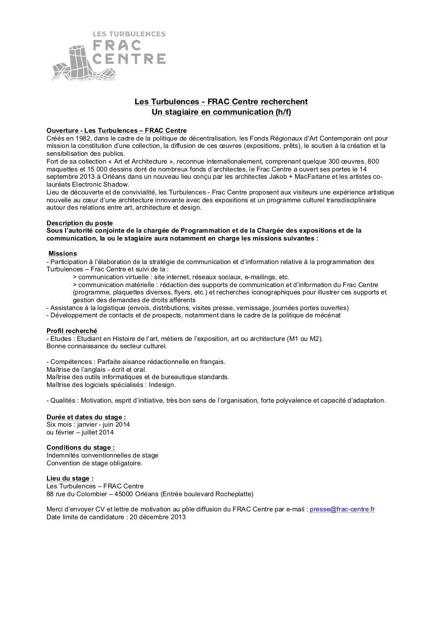 Annonce Stagiaire Communication Les Turbulences Frac Centre