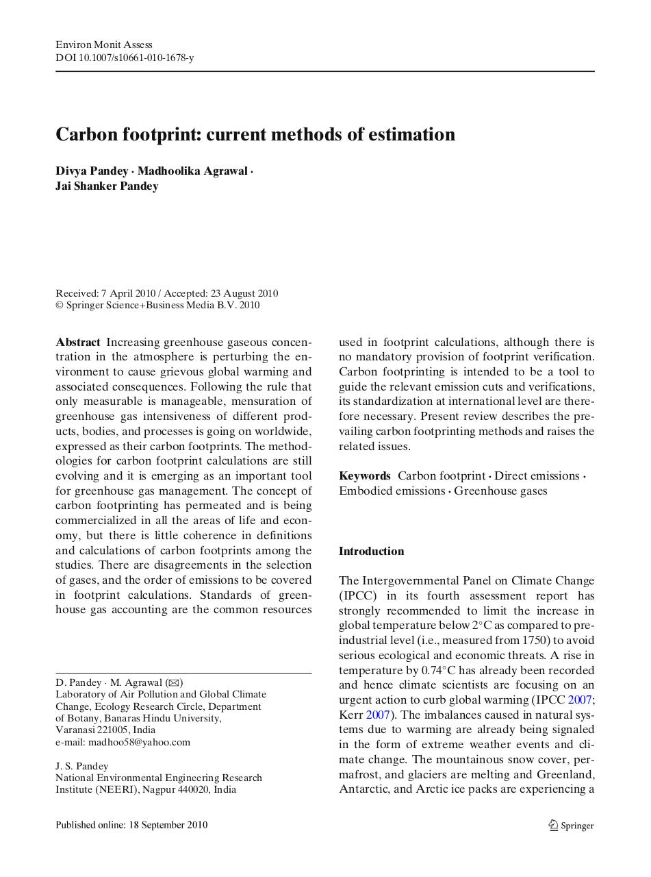 Carbon footprint current methods of estimation.pdf - page 1/26