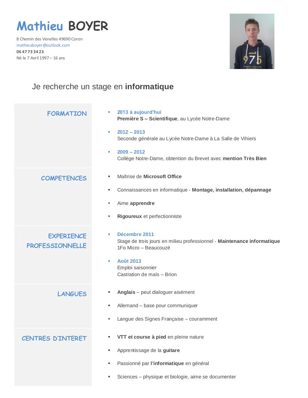 cv stage informatique pdf images