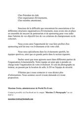 lettre aux partenaires