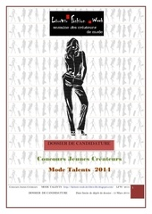 dossier candidature concours mode talents 1ere edition