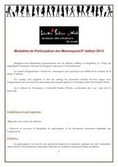 modalites de participation des mannequins lfw 2014
