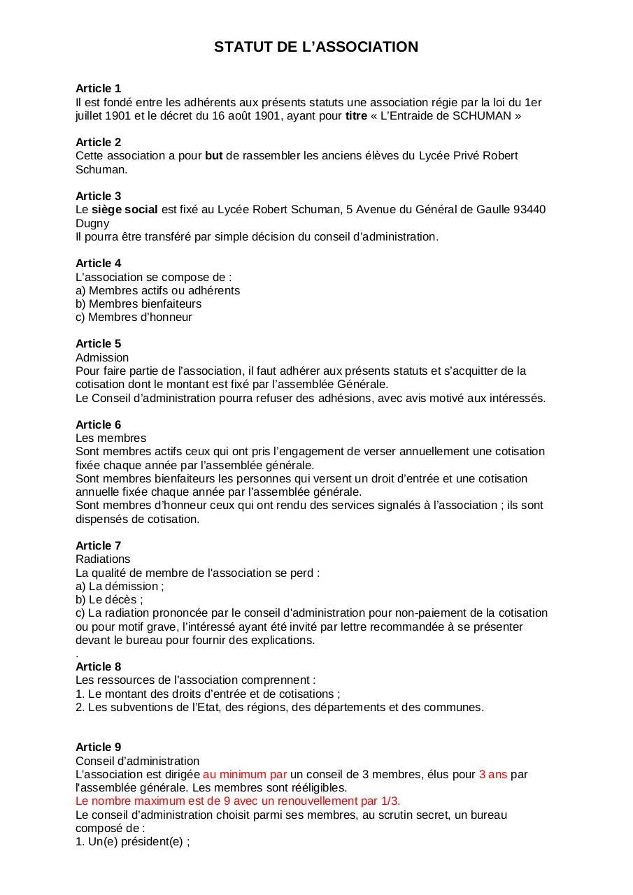 Modele De Statuts 2 Par Metzger Fichier Pdf