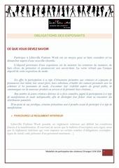 obligations des exposants lfw 2014
