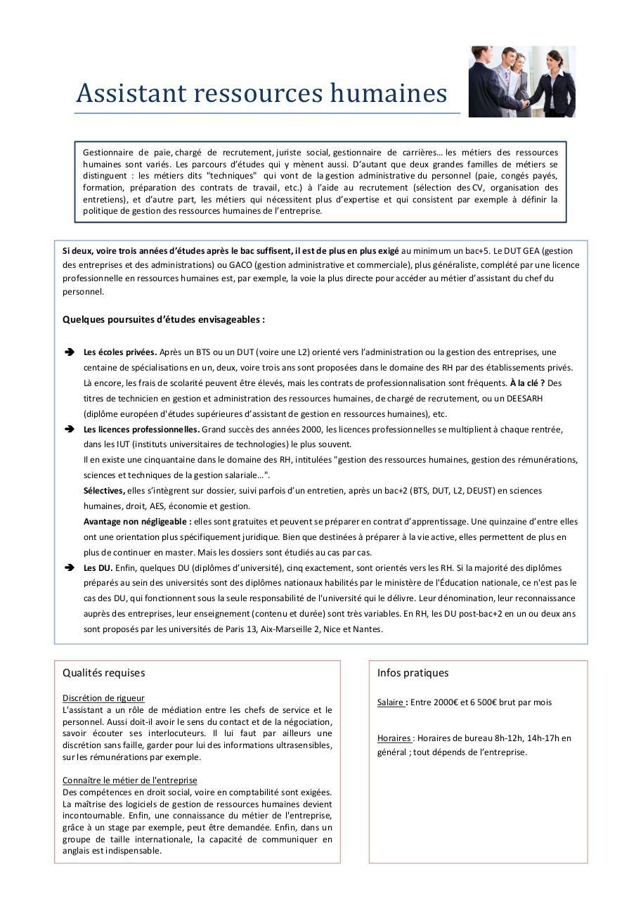 fiche m u00e9tier - assistant ressources humaines pdf par laurine