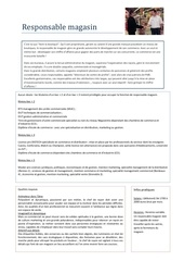 fiche metier responsable magasin