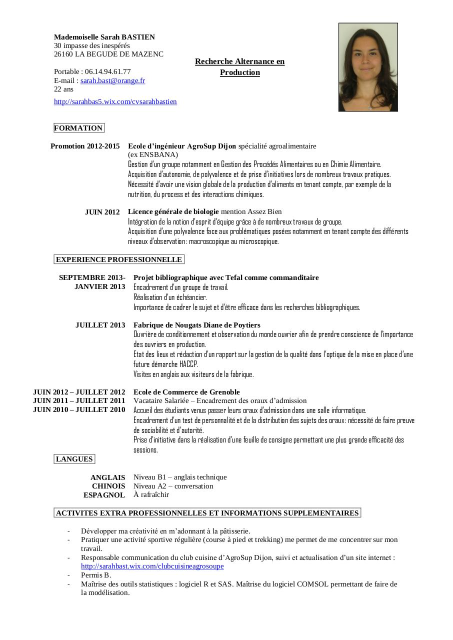 exemple cv licence