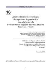 analyse des systemes de production des paysans du fouta