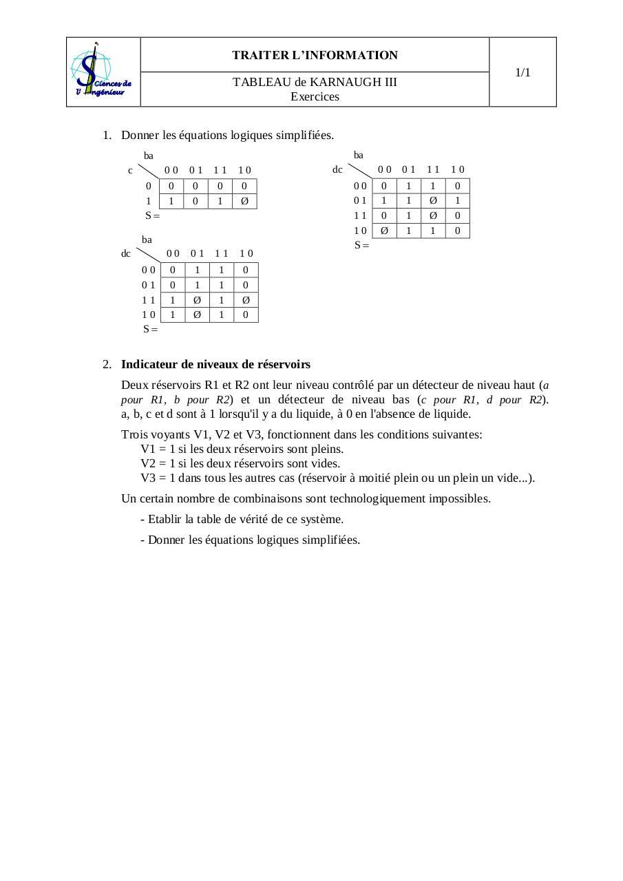 Disjoncteur exercices karnaugh 3 pdf fichier pdf - Exercice corrige de table de karnaugh pdf ...