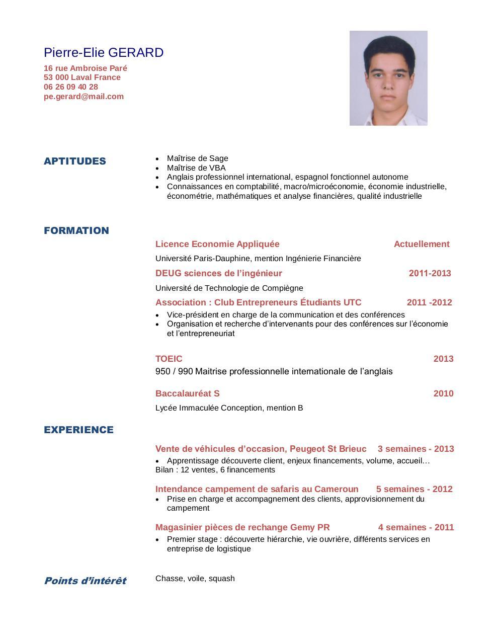 exemple de cv  u00e9tudiant licence